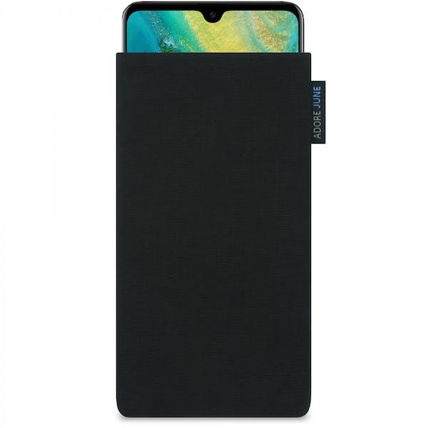 Das Bild zeigt die Vorderseite von Classic Tasche für Huawei Mate 20 in Farbe Schwarz; Zur Veranschaulichung wird ebenfalls dargestellt, wie das kompatible Gerät in dieser Tasche aussieht