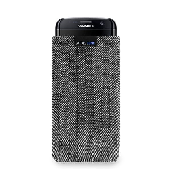 The picture shows the front of Business Sleeve for Samsung Galaxy S7 Edge in color Grey / Black; As an illustration, it also shows what the compatible device looks like in this bag