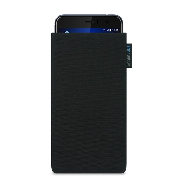 The picture shows the front of Classic Sleeve for HTC U11 in color Black; As an illustration, it also shows what the compatible device looks like in this bag