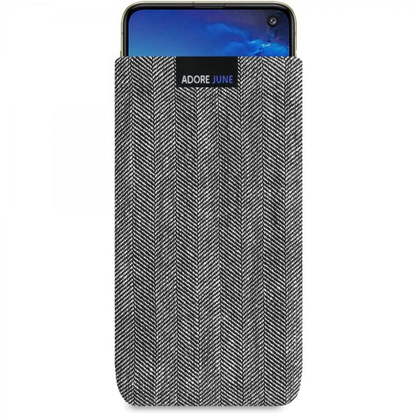 Das Bild zeigt die Vorderseite von Business Tasche für Samsung Galaxy S10e in Farbe Grau / Schwarz; Zur Veranschaulichung wird ebenfalls dargestellt, wie das kompatible Gerät in dieser Tasche aussieht