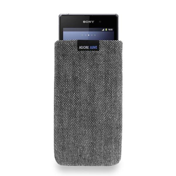 Das Bild zeigt die Vorderseite von Business Tasche für Sony Xperia Z1 Compact und Xperia Z3 Compact in Farbe Grau / Schwarz; Zur Veranschaulichung wird ebenfalls dargestellt, wie das kompatible Gerät in dieser Tasche aussieht