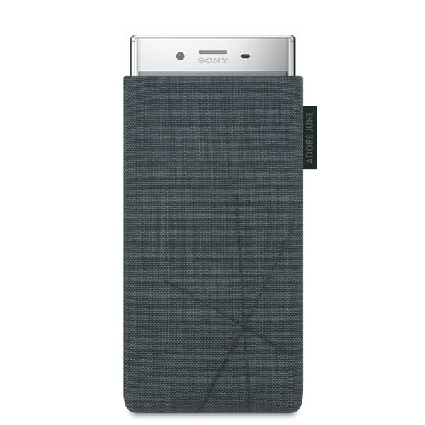 The picture shows the front of Axis Sleeve for Sony Xperia XZ Premium in color Dark Grey; As an illustration, it also shows what the compatible device looks like in this bag