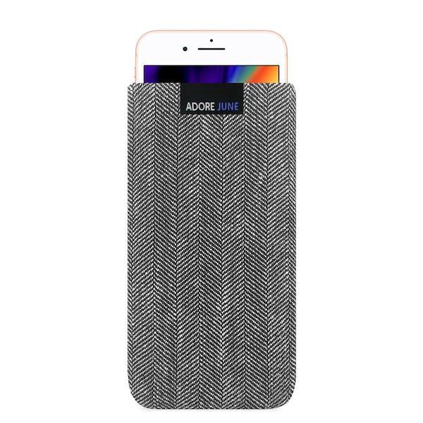 Das Bild zeigt die Vorderseite von Business Tasche für Apple iPhone 8 in Farbe Grau / Schwarz; Zur Veranschaulichung wird ebenfalls dargestellt, wie das kompatible Gerät in dieser Tasche aussieht