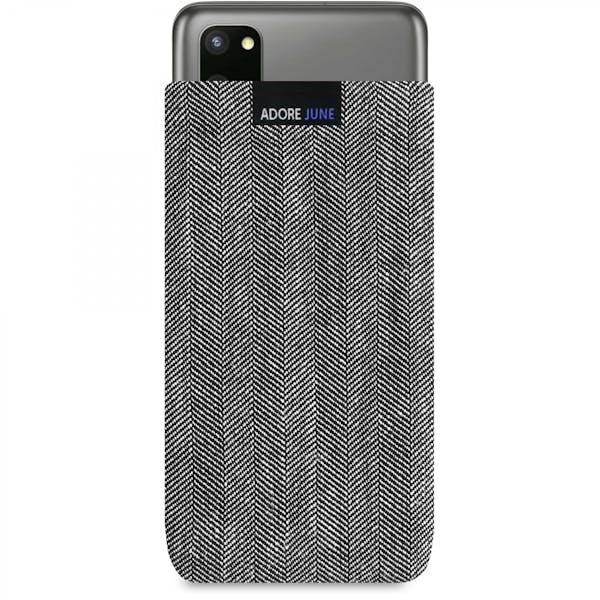 Das Bild zeigt die Vorderseite von Business Tasche für Samsung Galaxy S20 in Farbe Grau / Schwarz; Zur Veranschaulichung wird ebenfalls dargestellt, wie das kompatible Gerät in dieser Tasche aussieht
