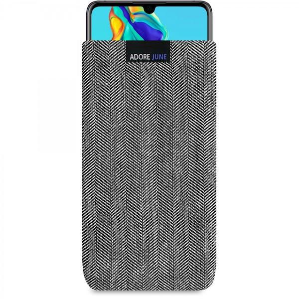 Das Bild zeigt die Vorderseite von Business Tasche für Huawei P30 in Farbe Grau / Schwarz; Zur Veranschaulichung wird ebenfalls dargestellt, wie das kompatible Gerät in dieser Tasche aussieht