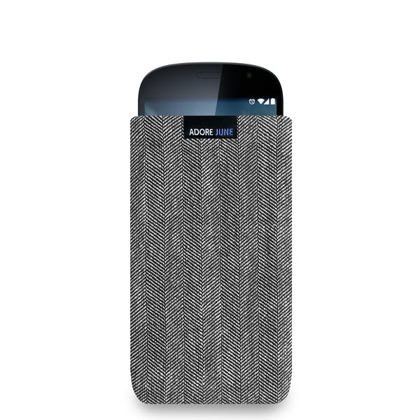 The picture shows the front of Business Sleeve for YotaPhone 2 in color Grey / Black; As an illustration, it also shows what the compatible device looks like in this bag