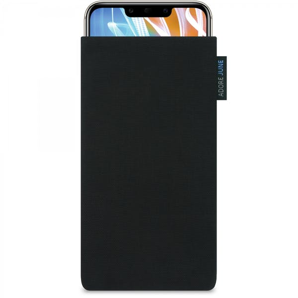 The picture shows the front of Classic Sleeve for Huawei Mate 20 LITE in color Black; As an illustration, it also shows what the compatible device looks like in this bag