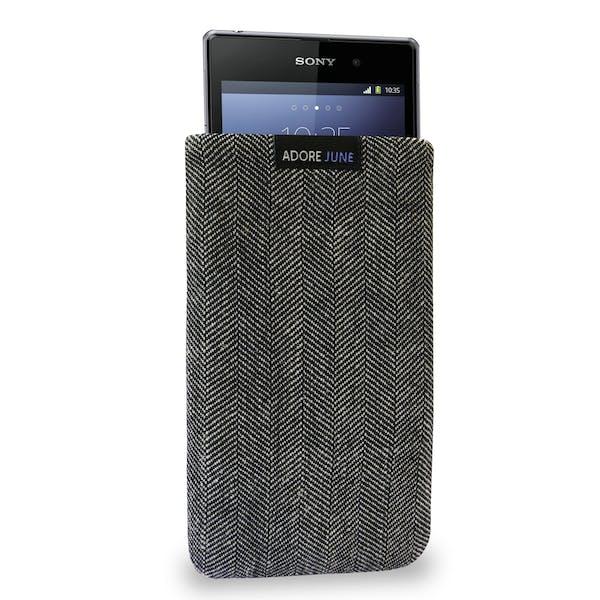 Das Bild zeigt die Vorderseite von Business Tasche für Sony Xperia Z1 in Farbe Grau / Schwarz; Zur Veranschaulichung wird ebenfalls dargestellt, wie das kompatible Gerät in dieser Tasche aussieht