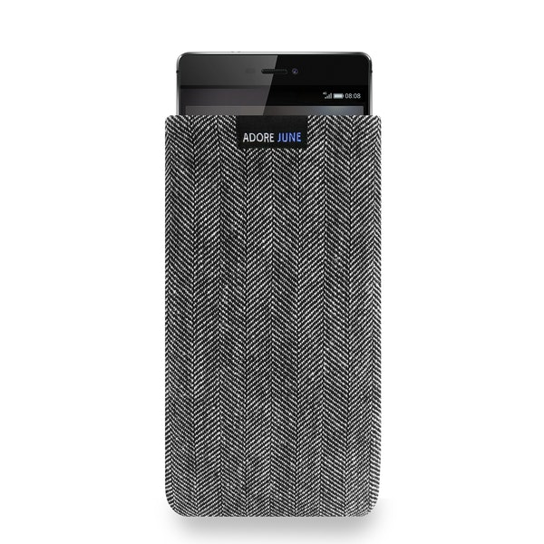 The picture shows the front of Business Sleeve for Huawei P8 in color Grey / Black; As an illustration, it also shows what the compatible device looks like in this bag