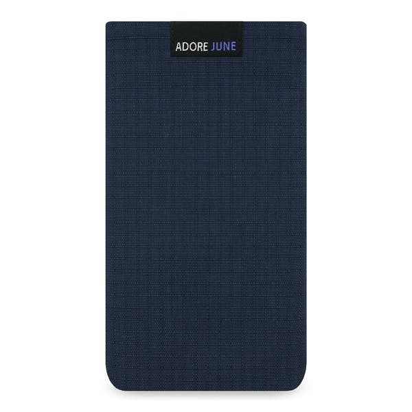The picture shows the front of Business II Sleeve for Motorola Moto G4 and G4 Plus in color Blue / Black
