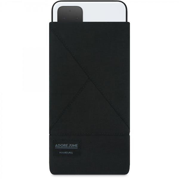 Das Bild zeigt die Vorderseite von Triangle Tasche für Google Pixel 4 in Farbe Schwarz; Zur Veranschaulichung wird ebenfalls dargestellt, wie das kompatible Gerät in dieser Tasche aussieht