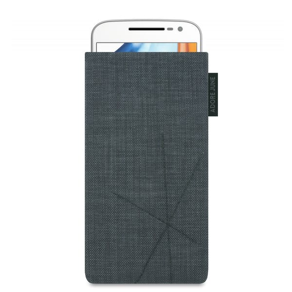 The picture shows the front of Axis Sleeve for Motorola Moto G4 and Moto G4 Plus in color Dark Grey; As an illustration, it also shows what the compatible device looks like in this bag