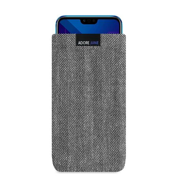 Das Bild zeigt die Vorderseite von Business Tasche für Honor 10 in Farbe Grau / Schwarz; Zur Veranschaulichung wird ebenfalls dargestellt, wie das kompatible Gerät in dieser Tasche aussieht