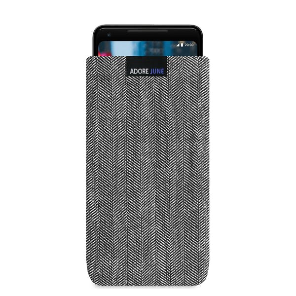 The picture shows the front of Business Sleeve for Google Pixel 2 XL and 3 XL in color Grey / Black; As an illustration, it also shows what the compatible device looks like in this bag