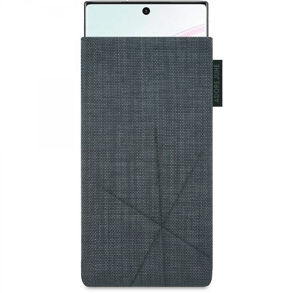 The picture shows the front of Axis Sleeve for Samsung Galaxy Note 10 in color Dark Grey; As an illustration, it also shows what the compatible device looks like in this bag