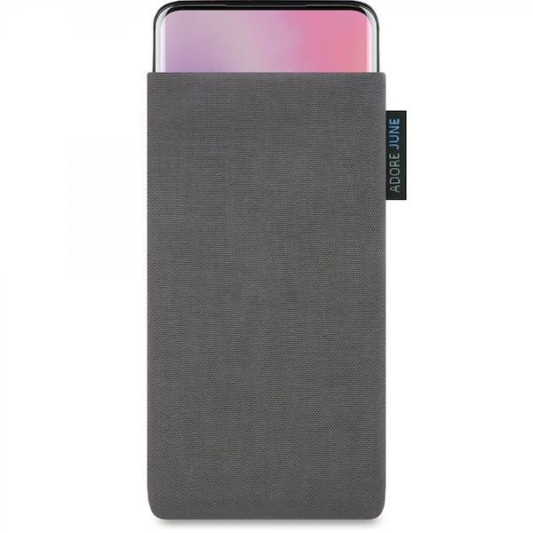 Das Bild zeigt die Vorderseite von Classic Tasche für OnePlus 7 Pro und OnePlus 7T Pro in Farbe Dunkelgrau; Zur Veranschaulichung wird ebenfalls dargestellt, wie das kompatible Gerät in dieser Tasche aussieht