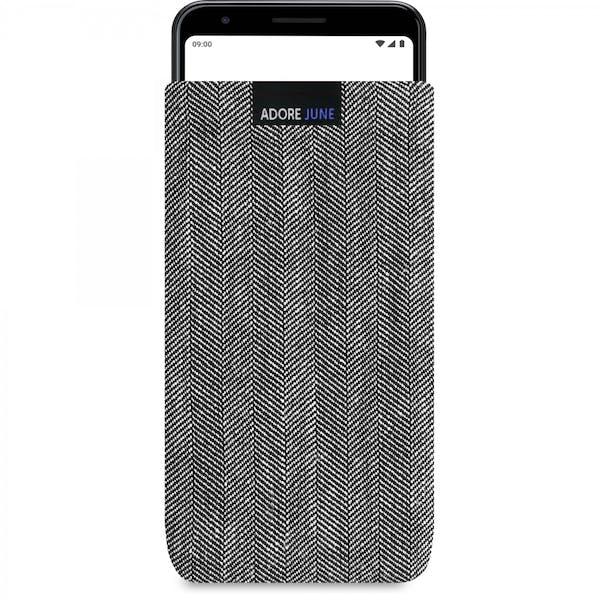 Das Bild zeigt die Vorderseite von Business Tasche für Google Pixel 3a in Farbe Grau / Schwarz; Zur Veranschaulichung wird ebenfalls dargestellt, wie das kompatible Gerät in dieser Tasche aussieht