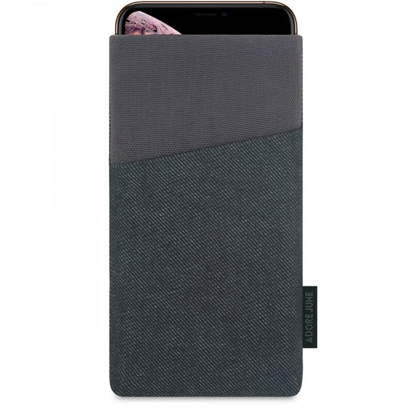 The picture shows the front of Clive Sleeve for Apple iPhone Xs Max in color Grey / Black; As an illustration, it also shows what the compatible device looks like in this bag