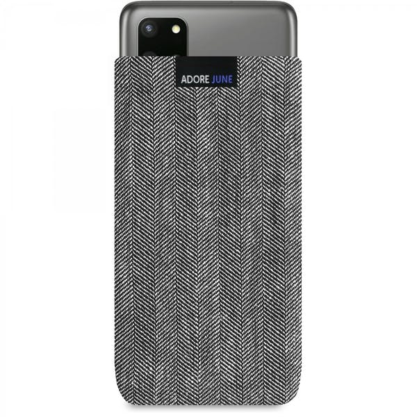 The picture shows the front of Business Sleeve for Samsung Galaxy S20 Plus in color Grey / Black; As an illustration, it also shows what the compatible device looks like in this bag