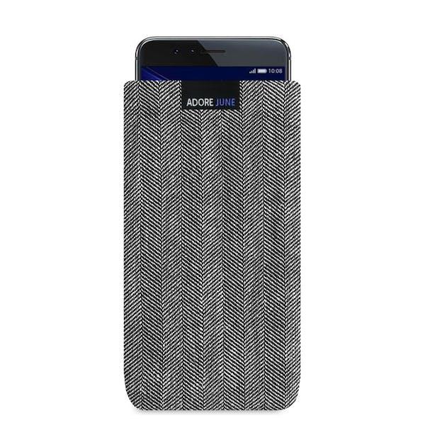 Das Bild zeigt die Vorderseite von Business Tasche für Honor 8 in Farbe Grau / Schwarz; Zur Veranschaulichung wird ebenfalls dargestellt, wie das kompatible Gerät in dieser Tasche aussieht
