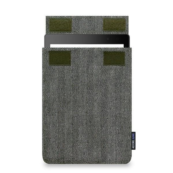 Das Bild zeigt die Vorderseite von Business Hülle für Kobo Aura ONE in Farbe Grau / Schwarz; Zur Veranschaulichung wird ebenfalls dargestellt, wie das kompatible Gerät in dieser Tasche aussieht
