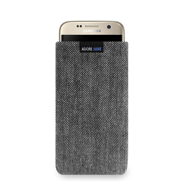 The picture shows the front of Business Sleeve for Samsung Galaxy S7 in color Grey / Black; As an illustration, it also shows what the compatible device looks like in this bag