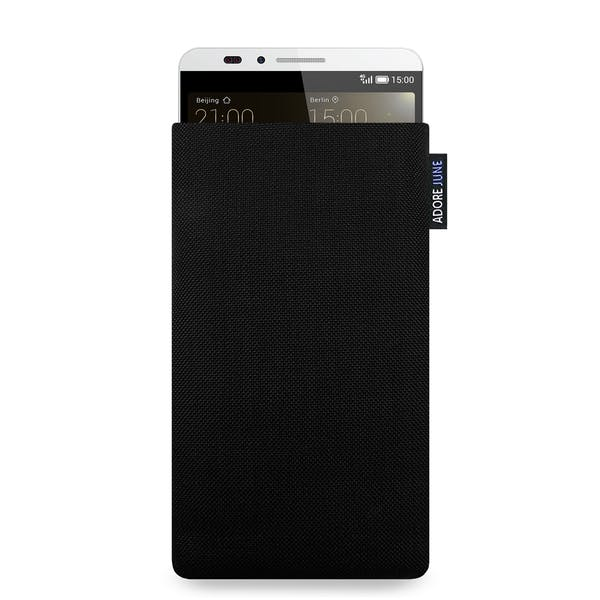 The picture shows the front of Classic Sleeve for Huawei Ascend Mate 7 in color Black; As an illustration, it also shows what the compatible device looks like in this bag
