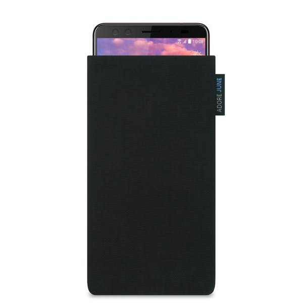 The picture shows the front of Classic Sleeve for HTC U12 Plus in color Black; As an illustration, it also shows what the compatible device looks like in this bag