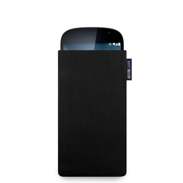 The picture shows the front of Classic Sleeve for YotaPhone 2 in color Black; As an illustration, it also shows what the compatible device looks like in this bag