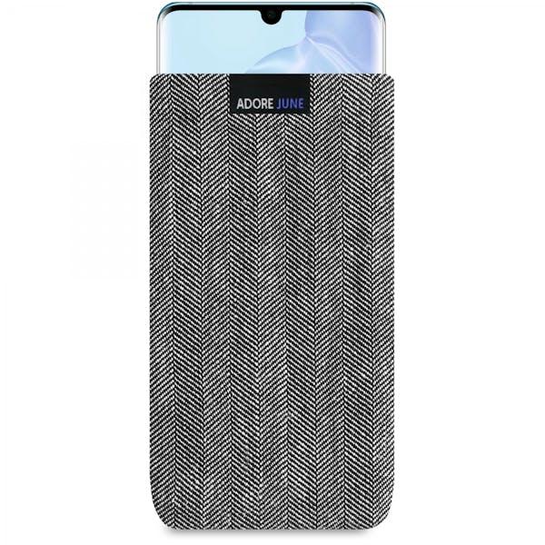 Das Bild zeigt die Vorderseite von Business Tasche für Huawei P30 PRO in Farbe Grau / Schwarz; Zur Veranschaulichung wird ebenfalls dargestellt, wie das kompatible Gerät in dieser Tasche aussieht