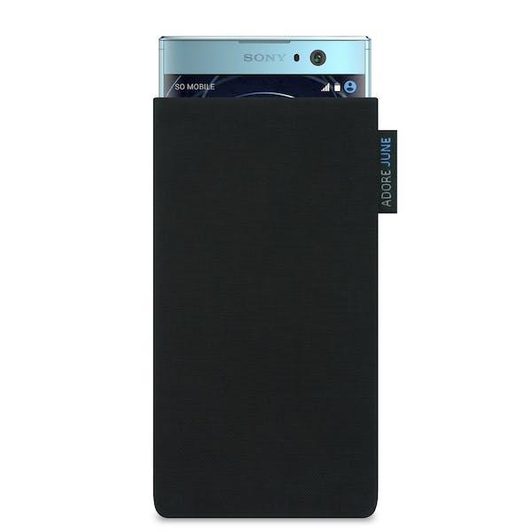 Das Bild zeigt die Vorderseite von Classic Tasche für Sony Xperia XA2 in Farbe Schwarz; Zur Veranschaulichung wird ebenfalls dargestellt, wie das kompatible Gerät in dieser Tasche aussieht