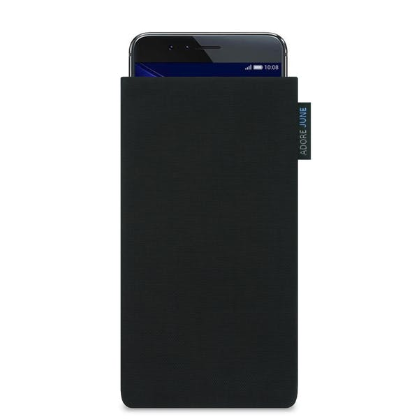 The picture shows the front of Classic Sleeve for Honor 8 in color Black; As an illustration, it also shows what the compatible device looks like in this bag
