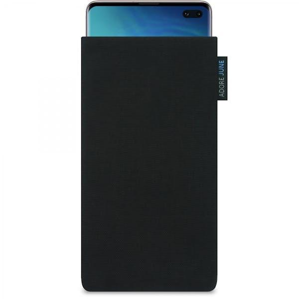 Das Bild zeigt die Vorderseite von Classic Tasche für Samsung Galaxy S10 Plus in Farbe Schwarz; Zur Veranschaulichung wird ebenfalls dargestellt, wie das kompatible Gerät in dieser Tasche aussieht
