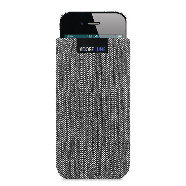The picture shows the front of Business Sleeve for Apple iPhone 4 and iPhone 4S in color Grey / Black; As an illustration, it also shows what the compatible device looks like in this bag