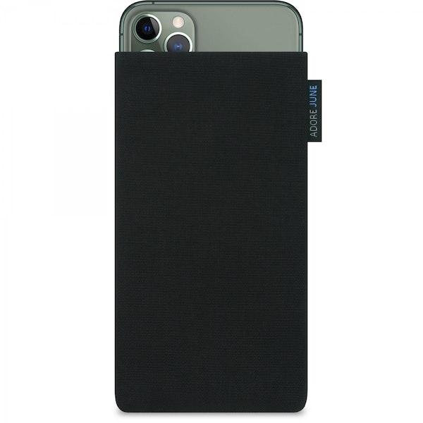 Das Bild zeigt die Vorderseite von Classic Tasche für Apple iPhone 11 Pro Max in Farbe Schwarz; Zur Veranschaulichung wird ebenfalls dargestellt, wie das kompatible Gerät in dieser Tasche aussieht