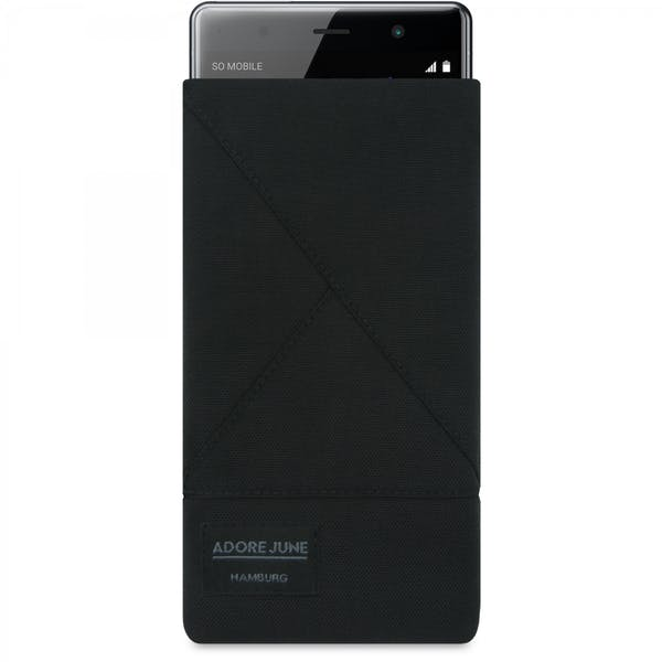 The picture shows the front of Triangle Sleeve for Sony Xperia XZ2 Premium in color Black; As an illustration, it also shows what the compatible device looks like in this bag