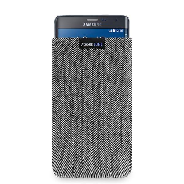 Das Bild zeigt die Vorderseite von Business Tasche für Samsung Galaxy Note Edge in Farbe Grau / Schwarz; Zur Veranschaulichung wird ebenfalls dargestellt, wie das kompatible Gerät in dieser Tasche aussieht