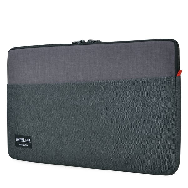 The picture shows the front of Clive Sleeve for Apple MacBook Pro 15 in color Black / Grey