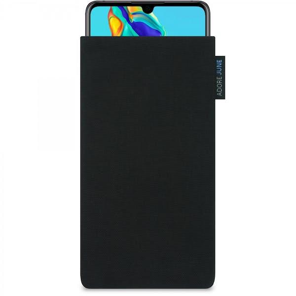 Das Bild zeigt die Vorderseite von Classic Tasche für Huawei P30 in Farbe Schwarz; Zur Veranschaulichung wird ebenfalls dargestellt, wie das kompatible Gerät in dieser Tasche aussieht