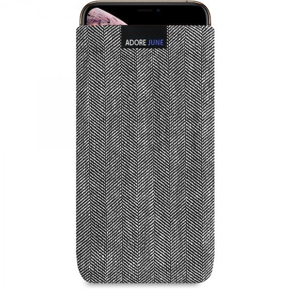 Das Bild zeigt die Vorderseite von Business Tasche für Apple iPhone Xs Max in Farbe Grau / Schwarz; Zur Veranschaulichung wird ebenfalls dargestellt, wie das kompatible Gerät in dieser Tasche aussieht