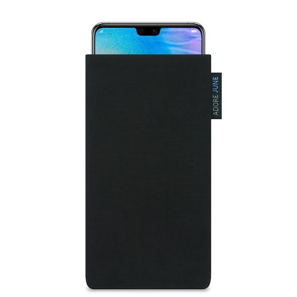 Das Bild zeigt die Vorderseite von Classic Tasche für Huawei P20 und Huawei P20 Lite in Farbe Schwarz; Zur Veranschaulichung wird ebenfalls dargestellt, wie das kompatible Gerät in dieser Tasche aussieht