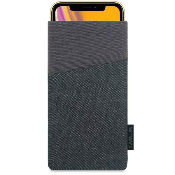 The picture shows the front of Clive Sleeve for Apple iPhone XR in color Black / Grey; As an illustration, it also shows what the compatible device looks like in this bag
