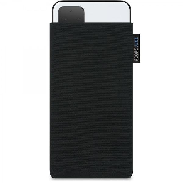 Das Bild zeigt die Vorderseite von Classic Tasche für Google Pixel 4 in Farbe Schwarz; Zur Veranschaulichung wird ebenfalls dargestellt, wie das kompatible Gerät in dieser Tasche aussieht