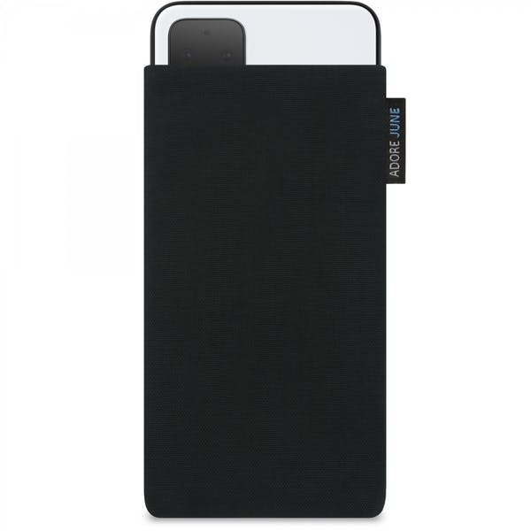 The picture shows the front of Classic Sleeve for Google Pixel 4 in color Black; As an illustration, it also shows what the compatible device looks like in this bag