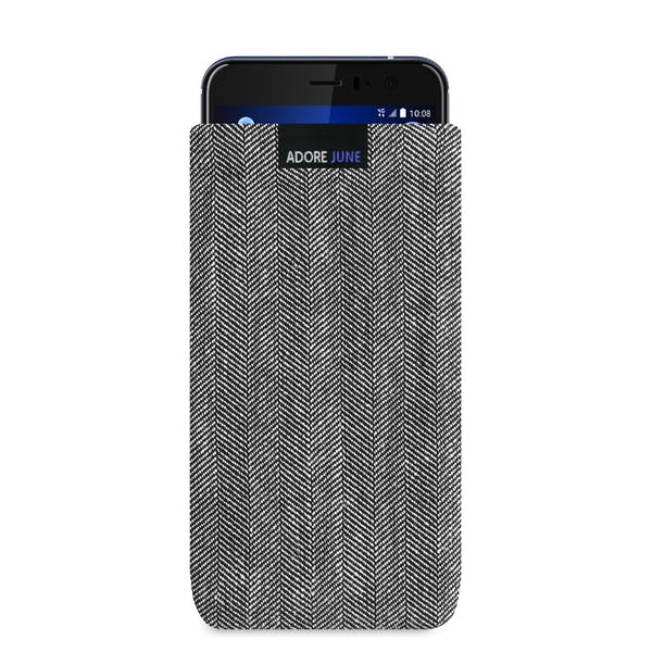 The picture shows the front of Business Sleeve for HTC U11 in color Grey / Black; As an illustration, it also shows what the compatible device looks like in this bag
