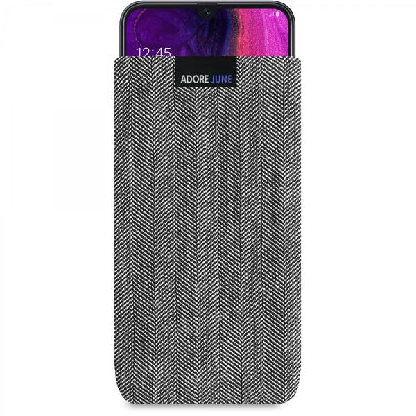The picture shows the front of Business Sleeve for Samsung Galaxy A50 in color Grey / Black; As an illustration, it also shows what the compatible device looks like in this bag