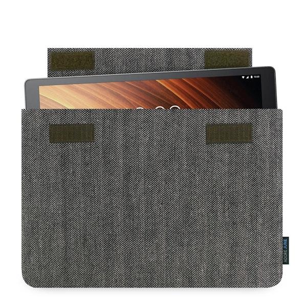 Das Bild zeigt die Vorderseite von Business Hülle für Lenovo Yoga Tab 3 Plus in Farbe Grau / Schwarz; Zur Veranschaulichung wird ebenfalls dargestellt, wie das kompatible Gerät in dieser Tasche aussieht