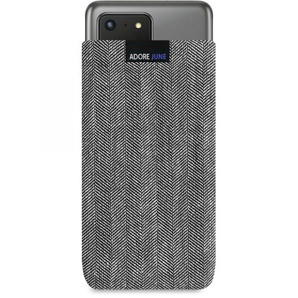 Das Bild zeigt die Vorderseite von Business Tasche für Samsung Galaxy S20 Ultra in Farbe Grau / Schwarz; Zur Veranschaulichung wird ebenfalls dargestellt, wie das kompatible Gerät in dieser Tasche aussieht