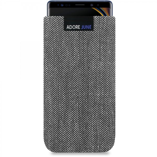 The picture shows the front of Business Sleeve for Samsung Galaxy Note 9 in color Grey / Black; As an illustration, it also shows what the compatible device looks like in this bag