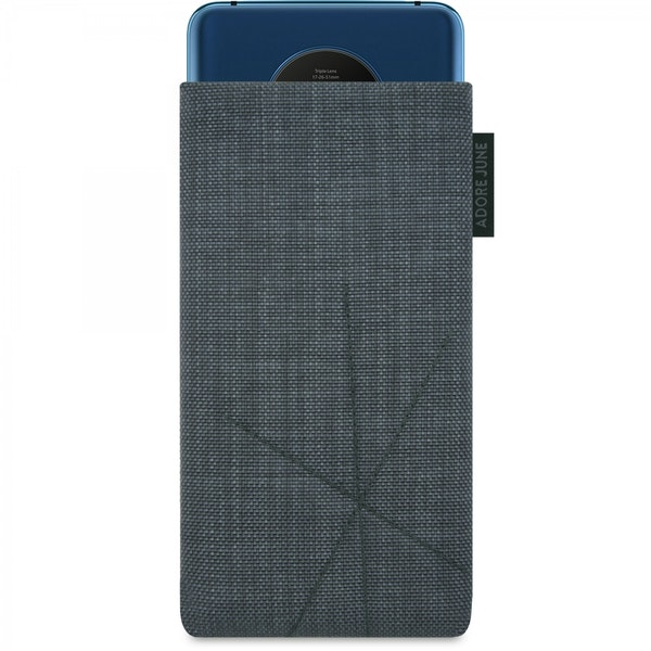 The picture shows the front of Axis Sleeve for OnePlus 7T in color Dark Grey; As an illustration, it also shows what the compatible device looks like in this bag